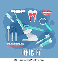 Dental care flat icon for dentistry design
