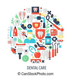 Dental care flat infographics icons in circle - color concept illustration for dental cover, emblem, template.