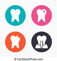 Dental care icons. Caries tooth and implant. - Circle...