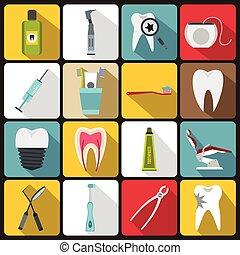 Dental care icons set, flat style