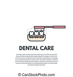 Dental care illustration. Tooth paste and tooth brush line illustration. Denture clinic poster.