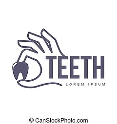 Dental care logo template with hand holding tooth