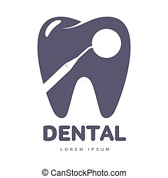 Dental care logo template with mirror silhouette over tooth shape