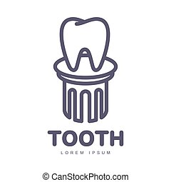 Dental care logo template with tooth standing on pedestal