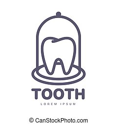 Dental care logo template with tooth under bell glass