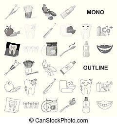 Dental care monochrom icons in set collection for design....
