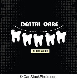 dental care over black background vector illustration