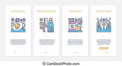 Dental care protective measures, healthcare vector illustration. UX, UI onboarding mobile app page screen set with line protection and health of teeth, toothpaste, toothbrush hygiene routine symbols
