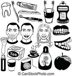 dental care set - Dental care vector set