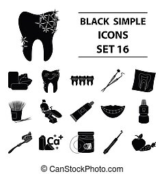 Dental care set icons in black style. Big collection of dental care vector symbol stock illustration