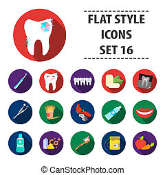 Dental care set icons in flat style. Big collection of dental care bitmap, raster symbol stock illustration
