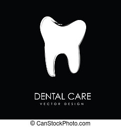 dental care silhouette over black background vector...