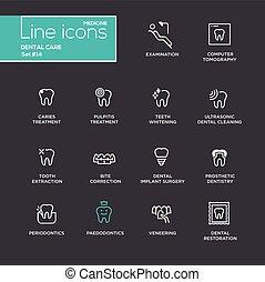 Dental Care - Single Line Pictograms Set - Dental Care -...