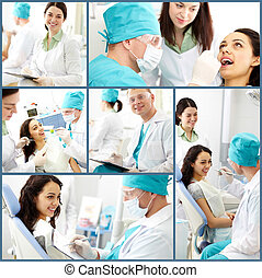 Dental care - Collage of male dentist and his assistant at...