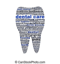 Dental care symbol as a tooth isolated on white