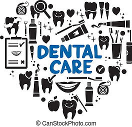 Dental care symbols in the shape of heart. Dental floss,...