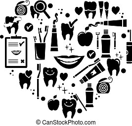 Dental care symbols in the shape of heart