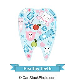 Dental care symbols in the shape of