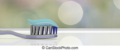 Dental care. Tooth paste on a toothbrush, abstract background, banner. 3d illustration
