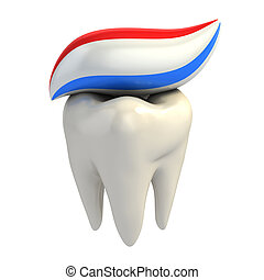 dental care - toothpaste on tooth 3d illustration