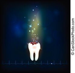 Dental caries abstract blue background