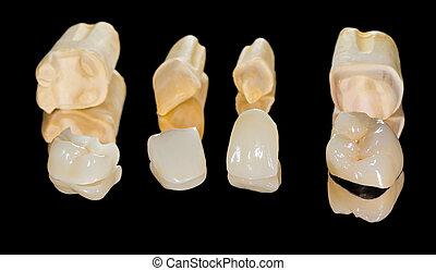 dental, cerâmico, coroas