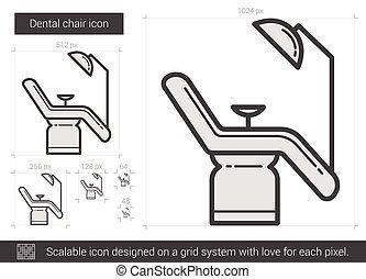 Dental chair line icon. - Dental chair vector line icon...