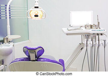 Dental chair with dental equipment