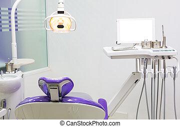 Dental chair with dental equipment