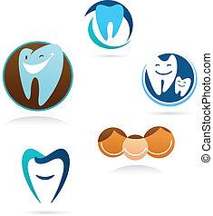 dental, clínica, colección, iconos