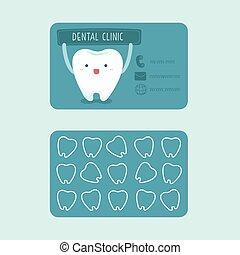 dental, clínica, tarjeta, nombre