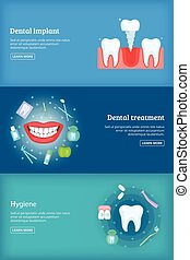 Dental clinic 3 cartoon banners set vector illustration