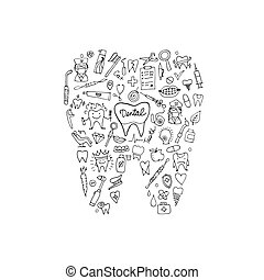 Dental clinic concept, sketch for your design. Vector...