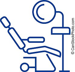 Dental clinic, dentist's chair line icon concept. Dental clinic, dentist's chair flat vector symbol, sign, outline illustration.
