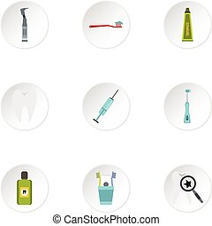 Dental clinic icons set, flat style