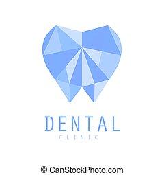 Dental clinic logo symbol, diamond tooth vector Illustration