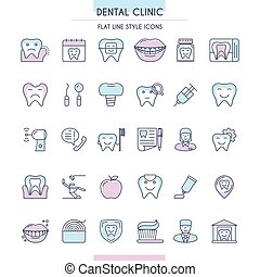 Dental Clinic Outline Icons Set