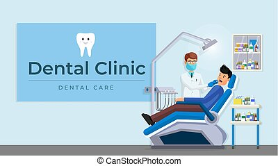 Dental clinic room interior flat poster - Patient with...