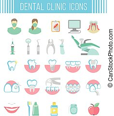 Dental clinic services flat icons on white