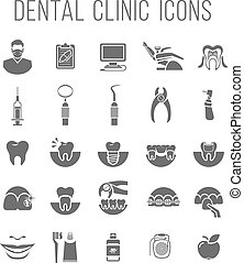 Dental clinic services flat silhouettes icons - Set of...