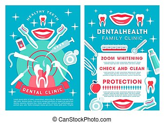 Dental clinic services poster with procedures list
