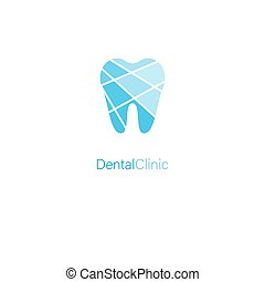 Dental clinic stylized tooth blue logo concept for medical branding