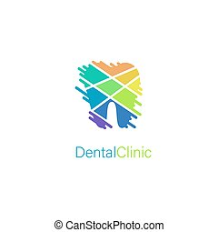 Dental clinic stylized tooth logo concept for medical branding