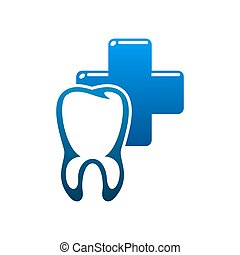Dental clinic, tooth and dentist icon