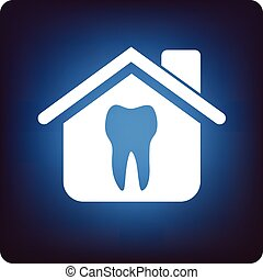 Dental icon in a house on blue background