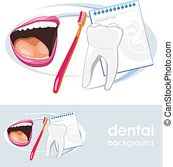 Dental concept. Icon and banner for design. Vector...