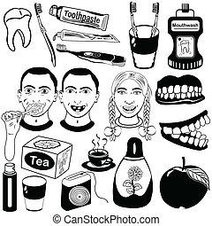 dental, conjunto, cuidado