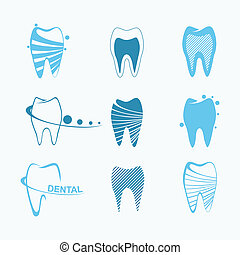 dental, conjunto, iconos