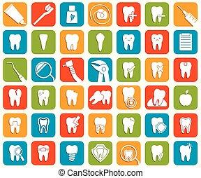 dental, conjunto, iconos
