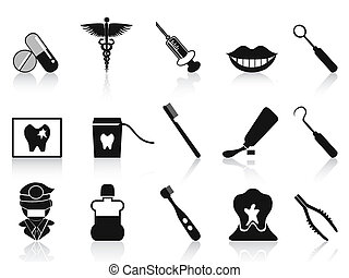 dental, conjunto, negro, iconos